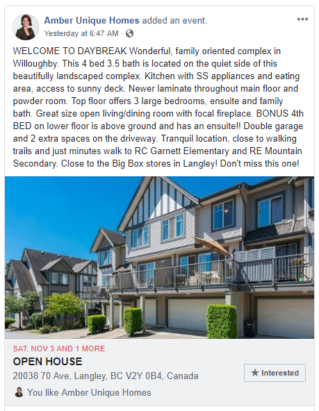 OPEN HOUSE Hosted by Amber Unique Homes